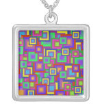 Retro Rainbow Squares Pattern Necklace