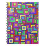 Retro Rainbow Squares Pattern Note Books