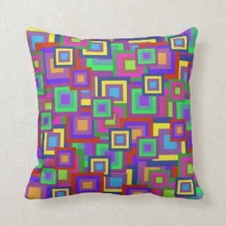 Retro Rainbow Squares Pattern Pillows
