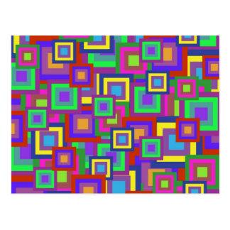 Retro Rainbow Squares Pattern Postcard