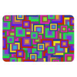 Retro Rainbow Squares Pattern Rectangle Magnets