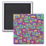 Retro Rainbow Squares Pattern Refrigerator Magnet