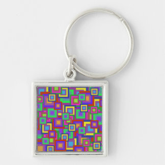 Retro Rainbow Squares Pattern Silver-Colored Square Keychain