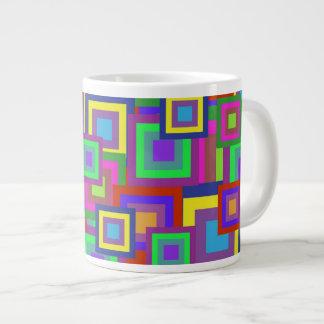 Retro Rainbow Squares Pattern Extra Large Mug