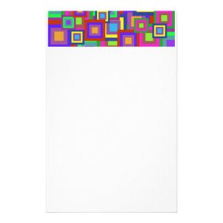 Retro Rainbow Squares Pattern Custom Stationery