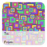 Retro Rainbow Squares Pattern Sticker