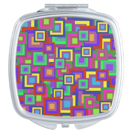 Retro Rainbow Squares Pattern Travel Mirrors