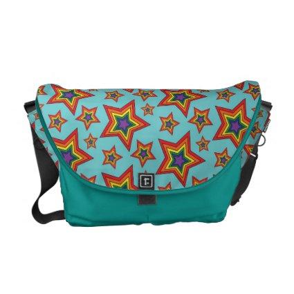 Retro Rainbow Stars Pattern Commuter Bag