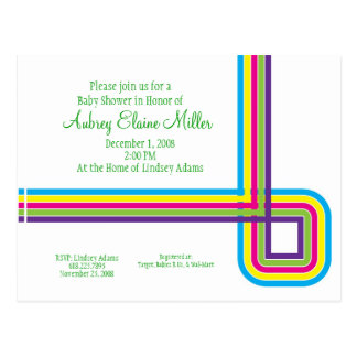Retro Rainbow Stripe Invitation Postcard
