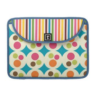 retro rainbow stripes and dots MacBook pro sleeve