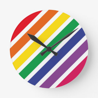 Retro RAINBOW Stripes Round Clock