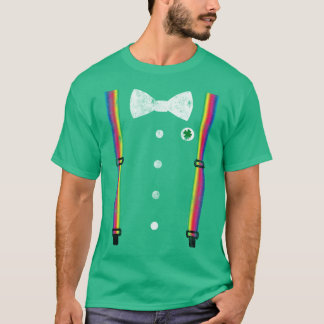 Retro Rainbow Suspender Leprechaun St Patricks Day T-Shirt