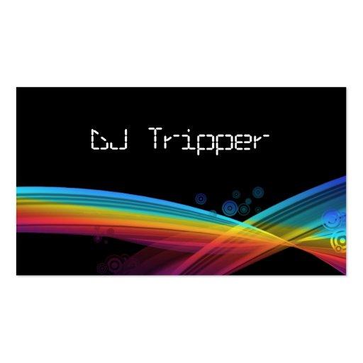 Retro Rainbow Wave Business Card Black DJ