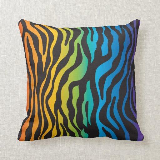Retro Rainbow Zebra Print Throw Pillow Zazzle
