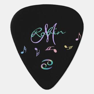 Retro Rainbow Zodiac Sign Cancer Guitar Pick