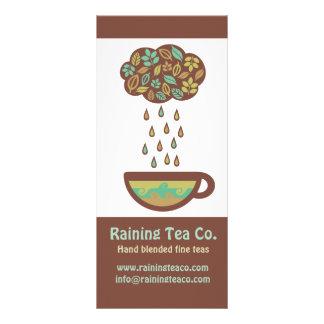 Retro raining tea leaves cloud teacup rack card
