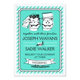 Retro Raptor Wedding Invitation (stripes)