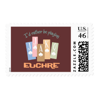 Retro Rather Play Euchre Postage Stamp