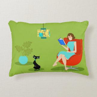 Retro Reading Woman Accent Pillow