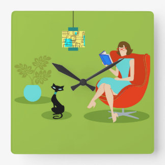 Retro Reading Woman Acrylic Wall Clock