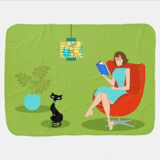 Retro Reading Woman Baby Blanket