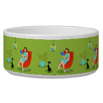 Retro Reading Woman Ceramic Pet Bowl