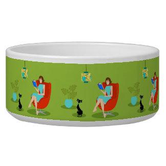 Retro Reading Woman Ceramic Pet Bowl
