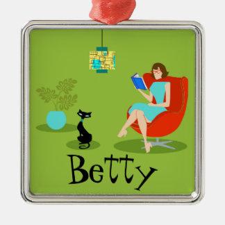 Retro Reading Woman Christmas Ornament