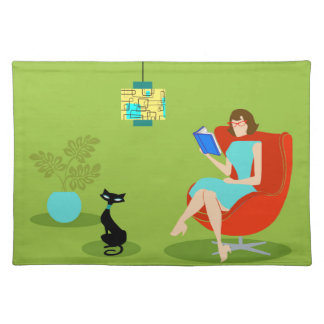 Retro Reading Woman Cloth Placemat