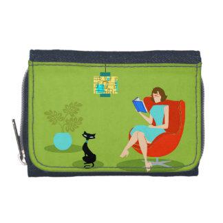 Retro Reading Woman Denim Wallet w/ Coin Purse