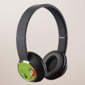 Retro Reading Woman DJ Style Headphones