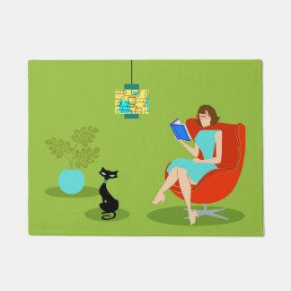 Retro Reading Woman Door Mat