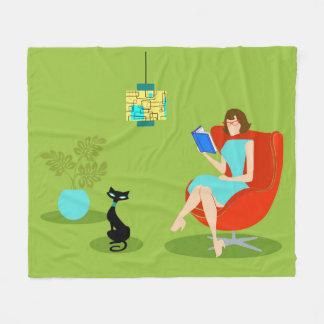 Retro Reading Woman Fleece Blanket