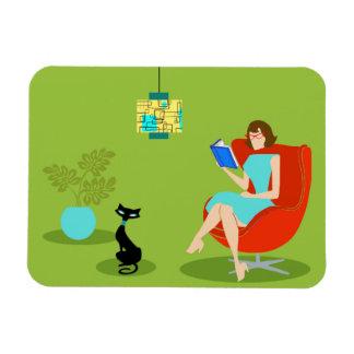 Retro Reading Woman Flexible Magnet