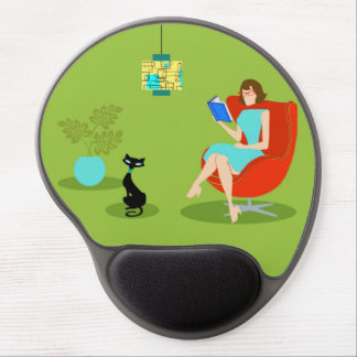 Retro Reading Woman Gel Mousepad