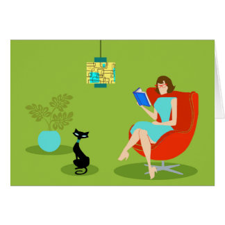 Retro Reading Woman Greeting Card