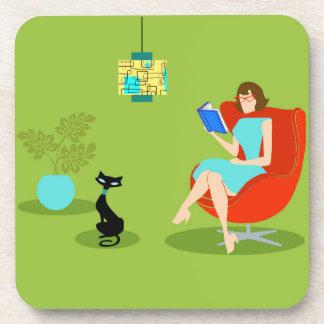 Retro Reading Woman Hard Plastic Coasters