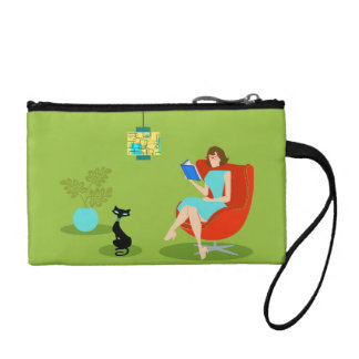 Retro Reading Woman Key Coin Clutch