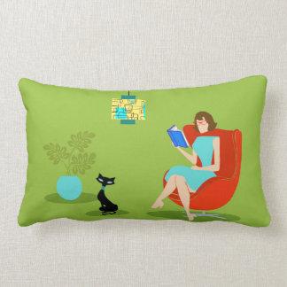 Retro Reading Woman Lumbar Pillow