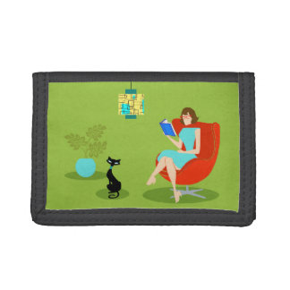 Retro Reading Woman Nylon Wallet