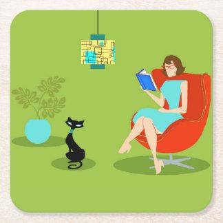 Retro Reading Woman Paper Coaster