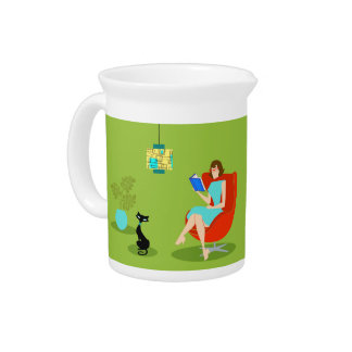 Retro Reading Woman Porcelain Pitcher