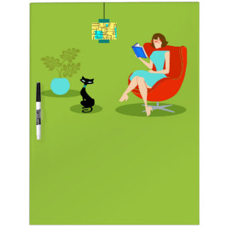 Retro Reading Woman Post-It Notes Dry Erase Board