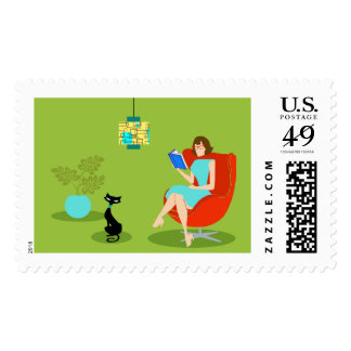 Retro Reading Woman Postage Stamps