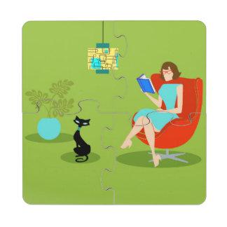 Retro Reading Woman Puzzle Coasters