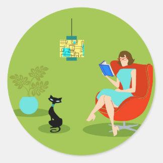 Retro Reading Woman Round Stickers