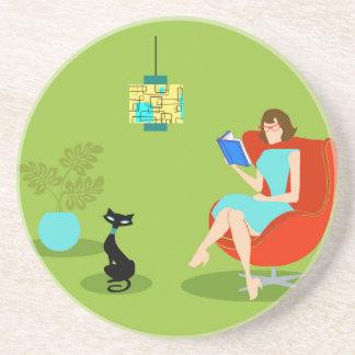 Retro Reading Woman Sandstone Coaster