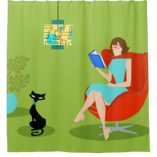 Retro Reading Woman Shower Curtain
