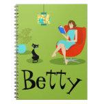 Retro Reading Woman Spiral Notebook