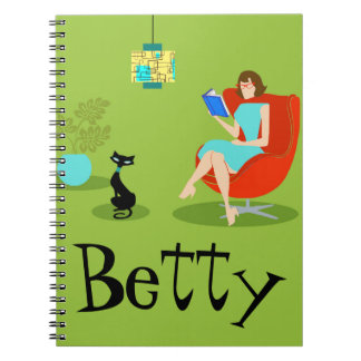 Retro Reading Woman Spiral Notebook